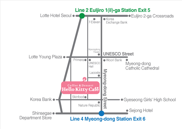 map hello kitty cafe