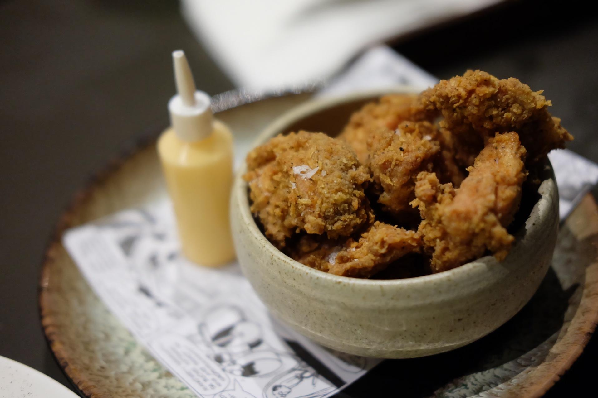 Chicken karaage, sriracha mayonnaise