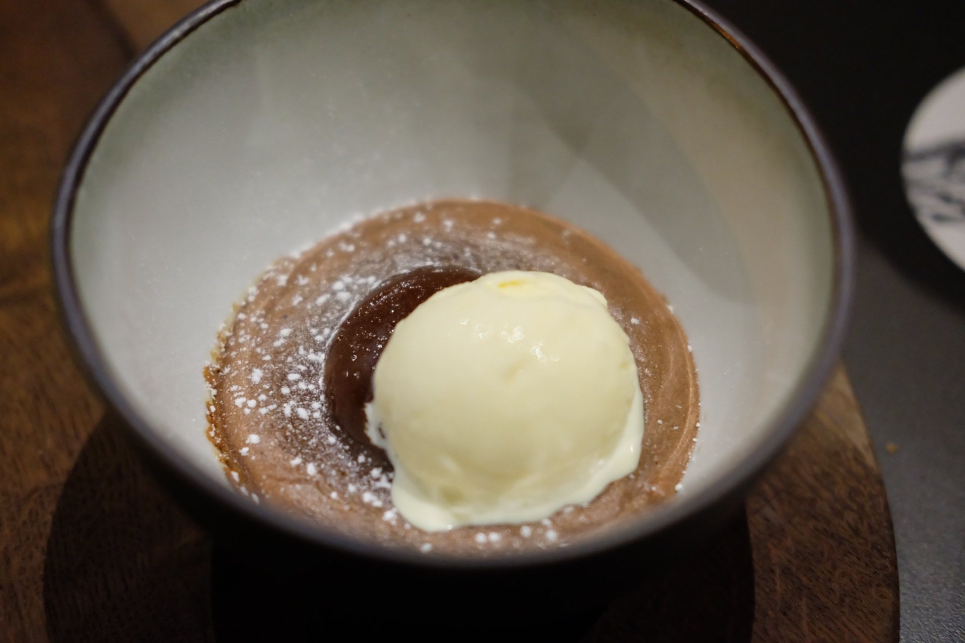 Baked 60% chocolate moelleux, sea salt & vanilla ice-cream